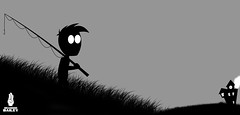 Little creepy boy walking to home (Brandon Bailey Design/Photography) Tags: house illustration scary fishing drawing character cartoon haunted creepy spooky rod illustrator cartooncharacter