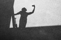 Statue (hogbergphotography) Tags: shadow summer blackandwhite bw me monochrome statue olympus monochrom asphalt olympuspen selfie svartvit monokrom svartvitt olympuspenepm2 olympusepm2