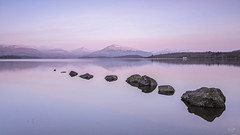 """Dawn At The Loch"" (Fiona Smith (Prev. Fiona McAllister Photography)) Tags: dawn sunrise sunrisecolours reflection reflections loch lochlomond lochside rocks pink pastel calm peaceful serene serenity scottishlandscape scotland milarrochy water mountains fionasmithphotography britishlandscapes greatbritain lake"