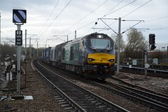 """Direct Rail Services Class 68's, 68002 """"Intrepid"""" & 68023 """"Achilles"""" (37190 """"Dalzell"""") Tags: drs directrailservices revised compassswoosh vossloh valencia cat class68 68002 intrepid 68023 achilles northwestern wigan"""