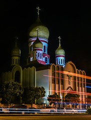 russian orthodox church (pbo31) Tags: sanfrancisco nikon d810 color spring boury pbo31 city 2017 california night dark black lightstream traffic roadway motion richmonddistrict gearyboulevard church religion temple russianorthodox holyvirgin cathedral orange march muni bus