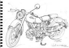 Moto Guzzi rouge (Croctoo) Tags: croctoo croctoofr crayon croquis moto niort motoguzzi motoancienne