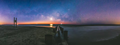 Under the Milky Way (sparkyloe) Tags: milky way milkyway galaxy glow shore beach footprints ocean seascape night sky canon 5d nikon moon waves reflections