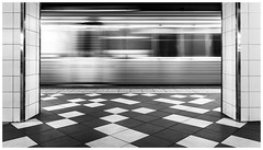 Tiles and trains (Jaka Pirš Hanžič) Tags: brisbane street queensland qld australia black white bw monochrome movement motion transport train rush tiles public central station