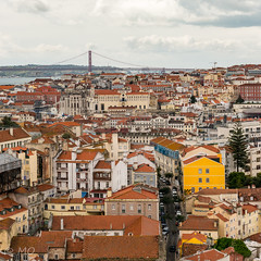 Lisbon cityscape (mathieuo1) Tags: portugal lisboa lisbonne lisbon capital europe scape urban travel discover color street clouds sky panorama height nikon d800 dlsr construction human bridge house home 2470 wide view fullframe streetphotography mathieuo panoramic traveler rooftop