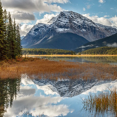 Grassy Reflection (Kirk Lougheed) Tags: alberta banff banffnationalpark canada canadian canadianrockies icefieldsparkway mountpatterson mtpatterson waterfowllakes autumn fall lake landscape mountain nationalpark outdoor reflection water