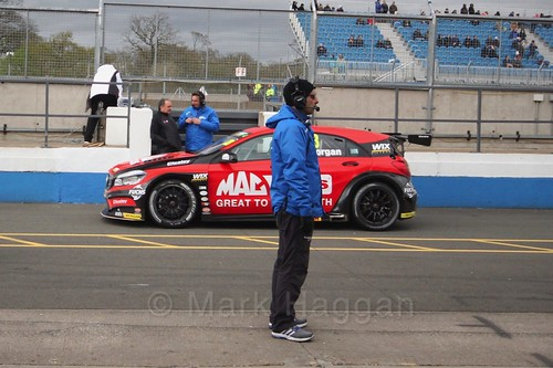 Adam Morgan heads to the pits after race two at the British Touring Car Championship 2017 at Donington Park