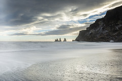 Black sand beach near Vic (Tony Balmforth) Tags: iceland vik black sand beach basalt rock formations sea stack tony balmforth crashing waves stormy
