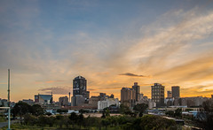 Johannebsurg CBD At Sunrise, South Africa (Paul Saad) Tags: night johannesburg lights sunset sunrise dusk dawn nikon city capital sun house clouds cloud sky outdoor street building long exposure skylines morning south africa pano panorama panoramic southafrica