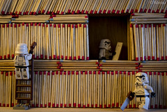 A Wall of Matches (Koeau) Tags: stormtrooper star war minifigure lego match fiammifero wall plastic stair wood saw legno muro guerre stellari empire rebel build hammer martello costruire red blue blu minifig clone pattern