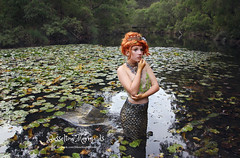 By Busselton Mermaids (peppiportraits) Tags: mermaid mermaidsarereal realmermaid crown princess mythical mythicalmermaid waterlillies redhair model margaretriver blackwoodriver