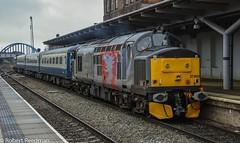37800 (47843 Vulcan) Tags: 37800 37884 railoperationsgroup tractor class37 377 derby mk2 coach blueandgrey rivieratrains