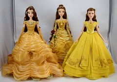Limited Edition Ball Gown Belle 17'' Dolls - 2010, 2016 and 2017 - Disney Store - Full Front View (drj1828) Tags: disneystore limitededition beautyandthebeast belle ballgown yellow 2010 2016 2017 17inch collectible groupphoto