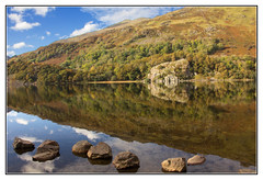 Interesting Reflections (Audrey A Jackson) Tags: canon60d snowdonia wales lake reflections water rocks sky clouds trees mountains autumn vacation 1001nightsmagiccity
