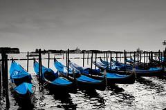 Gondolas in Venice (lukas.798) Tags: gondolas italy venice habour blackandwhite blue mediterraneansea adriaticsea bayofvenice summer tourists