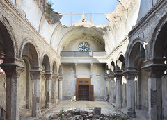 Chiesa Del Sol Levante (Jonnie Lynn Lace) Tags: abandoned italy italia italian europe european trip travel church churchruins arches architecture sky yellow blue red orange interior indoors indoor inside collapse nikkor nikon d750 24mm light day sunlight shadows doors stainedglass chiesa decay derelict peelingpaint peeling perspective bright lightrays summer white urbex religion old history historic sunny flickr digital rock