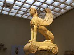 "Delphi, The Naxian Sphinx - II (egisto.sani) Tags: delfi museo sphinx sfinge ""naxian sphinx"" ""sfinge dei nassi"" ""high archaic"" ""proto arcaico"" style stile period periodo archaic arcaico arcaica greek greca arte art marble marmo relief rilievo "" siphnian treasury"" ""tesoro sinfi"" phocis focide delphi ""archaeological museum"" ""museo archeologico"""