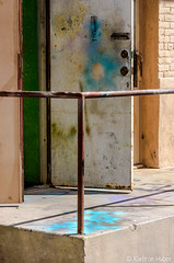 Santa Ana - Door In A Alley (www.karltonhuberphotography.com) Tags: 2017 alley backdoor cityscape door grungy handrail karltonhuber orangecountycalifornia paint ramp santaana southerncalifornia spill splatter streetphotography streetscene theoc urban urbanlandscape