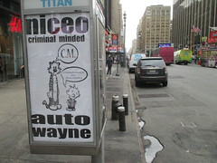 Niceo Wayne Auto Graffiti Art Calvin and Hobbs Comic Strip 4486 (Brechtbug) Tags: niceo wayne auto graffiti calvin hobbs newspaper comic strip characters art posters sidewalk phone booth 7th avenue near 34th street midtown nyc 2017 04172017 new york city profile design films movie funnies sunday papers bill watterson cartoonist tigre kid stuffed tiger st ave streets niceos criminal minded you been blinded guerilla ads cover manhattan culture jamming bombing since 1977 mass appeal reports same funny cartoon news paper cm