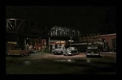 Steel Mill Parking Lot - 1959 (Michael Paul Smith) Tags: steel mill 1950s parking lot 1949 oldsmobile 1957 dodge truck mercury night scene
