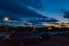 Roller Coasters Blue Hour (jason.betzner) Tags: roller coaster buschgardens williamsburg virginia themepark amusementpark outdoors outside sunset spring bluehour clouds cars parkinglot canon rebelt3 eos