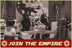 Empire Recruitment Day (agagnon34@sbcglobal.net) Tags: empire lego starwars join stormtrooper deathtrooper signs posters atst minifig droid