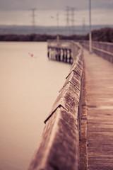 focus fence friday (cheezepleaze) Tags: fence jetty rail sea canoe dof