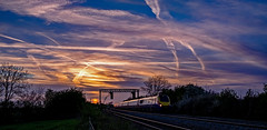 Late light at Kilby Bridge (Peter Leigh50) Tags: sunset sky clouds signal gantry colour light meridian reflection train east midland trains fugifilm xt10 railway leicestershire uk rural skyscape