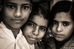The best friends (karmajigme) Tags: girls young youth human portrait india travel monochrome blackandwhite noiretblanc nikon
