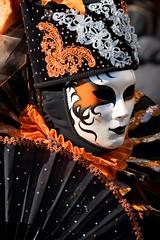 Venetian mask (_folivora_) Tags: carnival venice venetia italy mask masquerade beauty grace vacation black orange