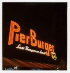 Pier Burger Neon 2 (tobysx70) Tags: the impossible project tip polaroid slr680 frankenroid sx70 door rollers color film for 600 type cameras impossaroid roidweek roid week polaroidweek spring april 2017 pier burger neon end of trail route 66 santa monica california ca sign lit illuminated night nocturnal lastburgeronland hamburger fries restaurant rt rte mother road 031017 cromwalk polawalk reject toby hancock photography