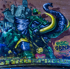 rise grind (pbo31) Tags: eastbay alamedacounty nikon d810 color night dark april 2017 spring boury pbo31 bayarea california oakland panoramic large stitched panorama rise grind 19th mural wall giant as elephant pride blue downtown painting art baseball mascot mlb green strength tusks oaksterdam 100 proud