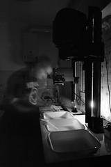 Darkroom selfie (emanuele_f) Tags: selfshot darkroom printing kitchen mamiyapress mamiya press 6x9 sekor 50mm kodak trix 400 xtol 11 film analog blackandwhite