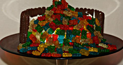2015: Anti-gravity gummy bear cake #2 (dominotic) Tags: 2015 birthdaycake antigravitygummybearcake lolly candy sydney australia gummybears sweets cake confectionery food