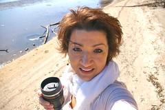 Selfie Monday at the Beach (AngelBeil) Tags: county camera beach coffee angel lens monday brownies calvert selfie