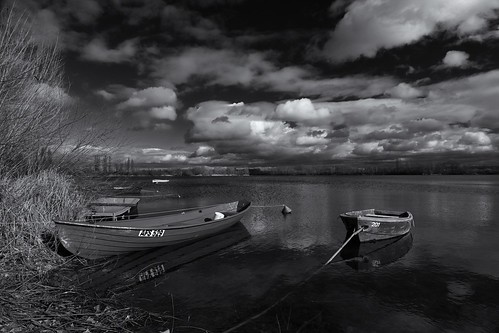 boats on the lake#3 (91623011@N07), photography tags:  trees sky blackandwhite lake cold reflection water clouds germany boat photo shadows cloudy filter shore