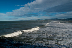 Looking Towards Summner (Jocey K) Tags: ocean sea newzealand christchurch sky water clouds shadows hills nz newbrighton