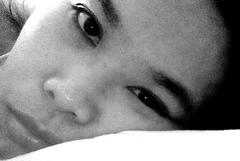 Pillow (mikeeliza) Tags: portrait woman black hot girl monochrome beautiful dark hair asian eyes pretty head philippines young almond lips full pillow manila pinay filipina brunette eliza selfpic selfie reclined mikeeliza