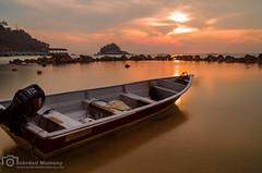 The boat (mtux) Tags: ocean travel sunset sky reflection water island boat stillness tiomantrip pentaxsmcpda21mmf32al