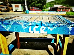 Ice Ice Baby... (... E M A ...) Tags: wood blue ice word table outdoors island puertorico handmade letters culebra caribbean