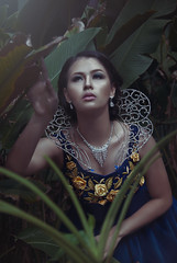 Beauty in the light (JanJanCapili) Tags: blue light portrait woman postprocessed colors forest photoshop gloomy photoshoot shot image candid wildlife philippines surreal fairy portraiture manila dreamy wilderness quezon sining kulay emilysoto fashionactions