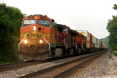 A More Than Common Visitor (The_Midland_Railfan) Tags: train pacific 9 canadian stack dash chillicothe h2 bnsf subdivision intermodal es44ac