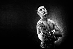 The Sensation - mono (neal1973) Tags: portrait wet water sport tattoo pose fight fighter spray gloves boxer boxing