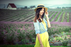 Gorgeous Lady in the lavender field (AchillesSHAN) Tags: china trip travel flowers portrait people woman love nature girl asian happy 50mm nikon sony chinese mother pregnancy lavender pregnant chengdu sichuan a7 traveldestination shanshihanachillesshan