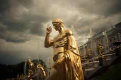Doom Sky LXXII (Subtitle Golden Thoughts) (Andrea_b.) Tags: light sky sculpture fountain clouds golden mood russia saintpetersburg peterhof clairobscur nikon20mmf28 nikond300  doomyclouds