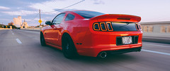Mustang (Jonathan Daniels1) Tags: sunset red ford car race speed nikon shot muscle fast rig roller mustang gt lowered slammed d7100