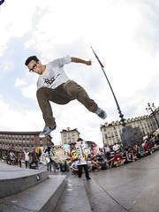 We are the children of the great empire. (fedeskier) Tags: castle june stairs torino fun friend day skateboarding go contest flip e skate skateboard piazza giugno turin castello gara amico divertimento 2014 gradini