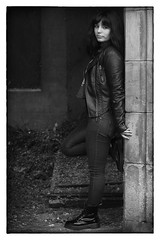 Gabriella (theimagebusiness) Tags: portrait people blackandwhite woman hot sexy girl monochrome beauty leather rock pose outdoors scotland clothing model eyecontact pretty slim vibrant young location chick attractive hazeleyes portfolio bluejeans tight leatherjacket alternative ravenhair theimagebusiness photographersinscotland theimagebusinesscouk photographersinwestlothian loverchick