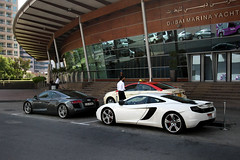 Audi R8 & McLaren MP4-12C outside the Dubai Marina Yacht Club (ietion) Tags: white club marina dubai yacht taxi mclaren audi r8 mp412c