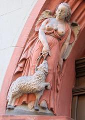Angel with friend (:Linda:) Tags: woman angel germany nude bavaria town coburg sheep franconia doorway womansculpture caffeyler